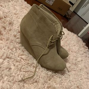 Taupe bootie wedges size 9